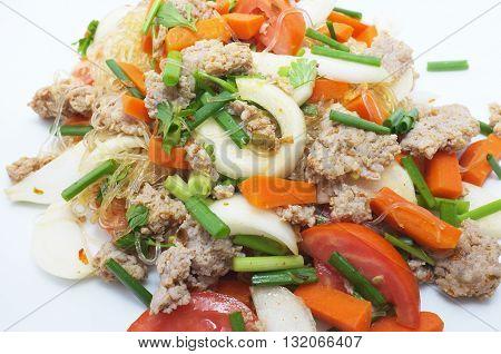 Thai Spicy Pork Salad with vermicelli, thai food