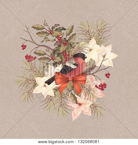 Christmas retro watercolor decorative composition. Bird bullfinch, poinsettia flowers with Rowan and Holly branch