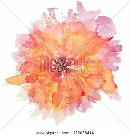 Abstract watercolor flower. Beautiful watercolor flowers on white background. Perfect for wedding invitations, greeting cards, quotes, blogs, posters and DIY.