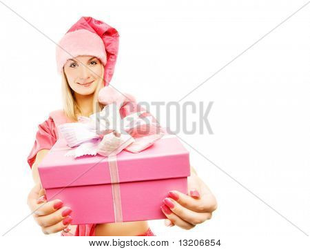 mrs. Santa with a gift box. Funny wide angle view. Isolated on white background