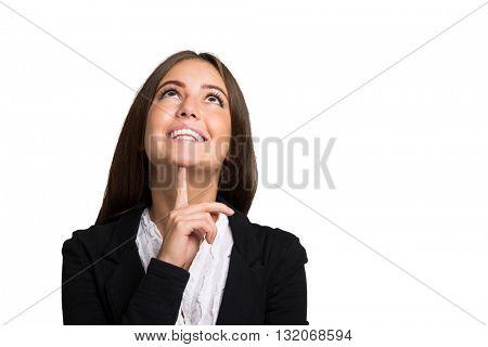Portrait of a smiling woman. Large copy-space