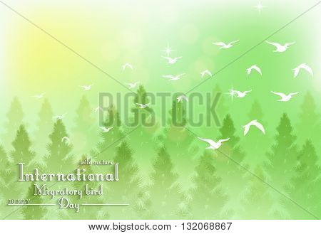 Vector illustration of Green background with palm tree and white birds for Birds migratory day