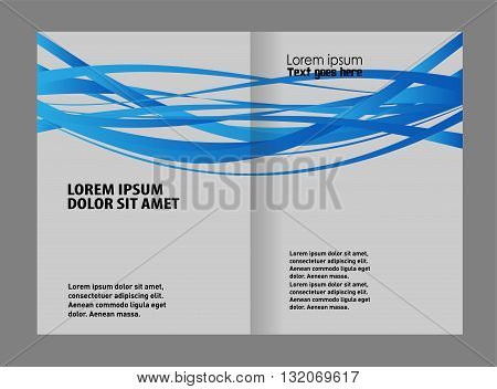 Vector blue brochure template design. Template for advertising brochure