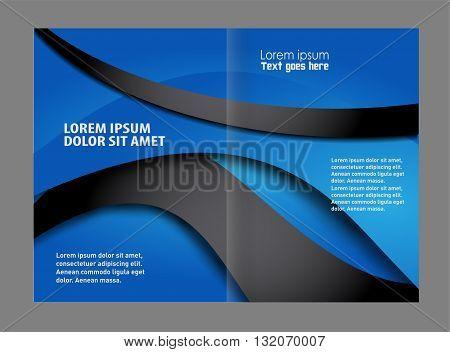 Bi fold business brochure vector template. Brochure design template vector abstract