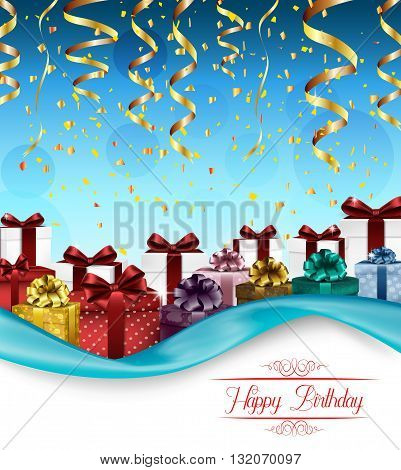 Vector illustration of Blue background with color gift boxes and confetti