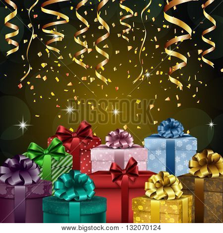 Vector illustration of Birthday party background with gift boxes and confetti