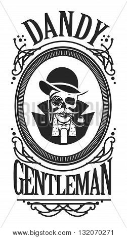 black and white vector illustration of a skull in the cylinder in an elegant frame