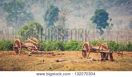 Myanmar rural scene with oxcart at Sankar