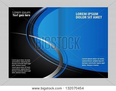 Bi-fold brochure template design. Vector template for advertising brochure