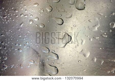 Fresh water drop on glass mirror background