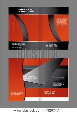 Template for advertising. Empty bi-fold brochure template design with orange color, booklet