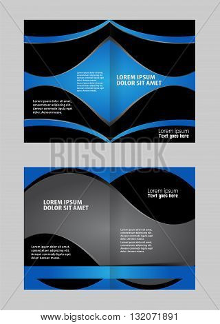 Template for advertising. Empty bi-fold brochure template design with blue color, booklet