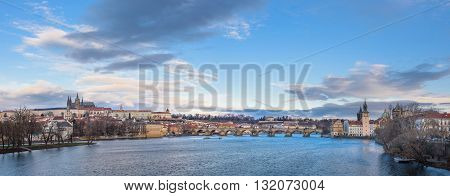 panorama of Prague, Vltava River, Charles Bridge