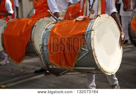 Traditional percussion instruments called drums used in a Ganesh festival procession like it has been for many years.