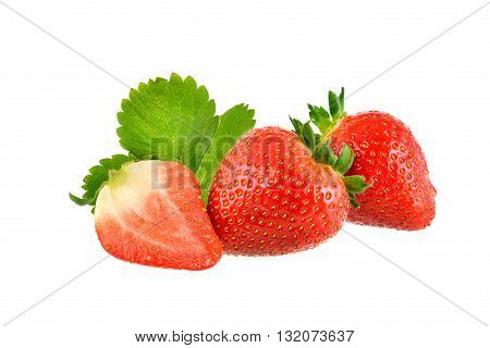Strawberry on white background with clipping path