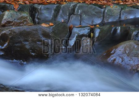 Source Vistula. Crystalline stream clean water and waterfall
