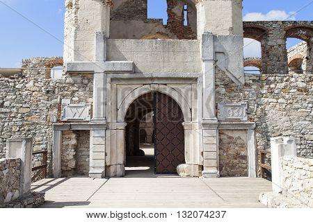 Gateway to 17th century giant castle Krzyztopor Poland.