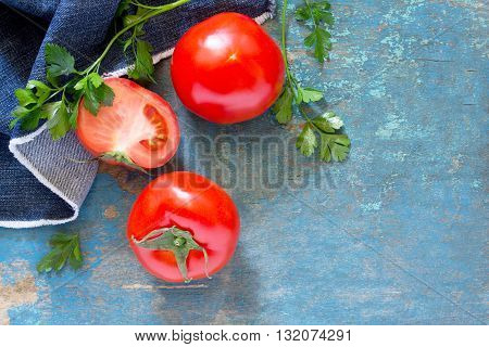 Fresh Organic Tomatoes On A Wooden Table, Selective Focus. Top View .
