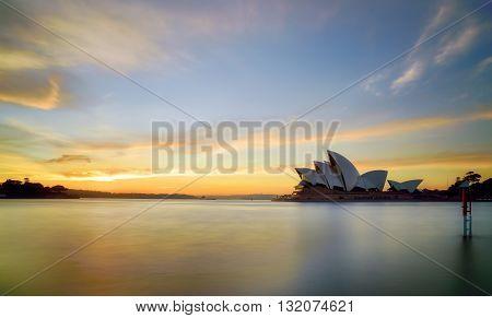 SYDNEY AUSTRALIA - Augus, 5, 2016 : Sunset at Sydney Opera House Sydney Australia Over 10 millions tourists visit Sydney every year