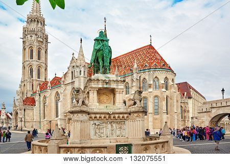 Budapest, Hangary-may 03, 2016: View On The Old Fisherman Bastion In Budapest. Statue Saint Istvan A