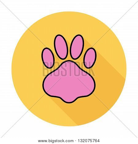 Paw icon vector. Flat icon isolated on the white background. Editable EPS file. Vector illustration.