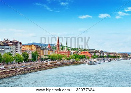 View Of The Side River Danube And The Part Of City Budapest- Buda. Hangary.