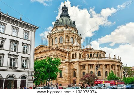 Budapest,hungary-may 02,2016: St.stephen Basilica In Budapest At Daytime,people On Street Near Basil