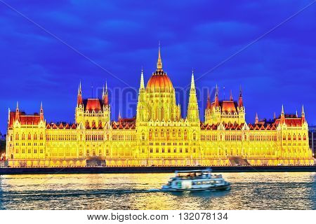 Hungarian Parliament At Evening. Budapest. One Of The Most Beautiful Buildings In The Hungarian Capi
