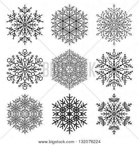 Set of snowflakes. Fine winter ornament. Snowflake icons
