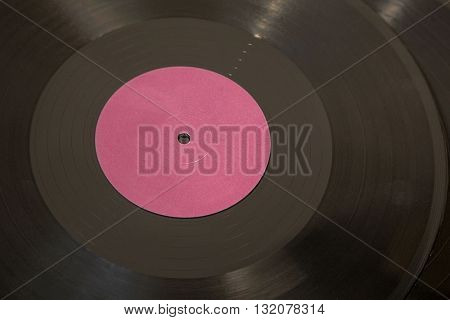 Vinyl record closeup with blank label