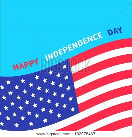Happy independence day United states of America. 4th of July. Waving American flag frame. Blue background. Isolated. Greeting card. Flat design. Vector illustration