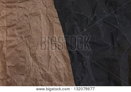 Crumpled brown and black sandpaper texture. crumpled texture.paper texture