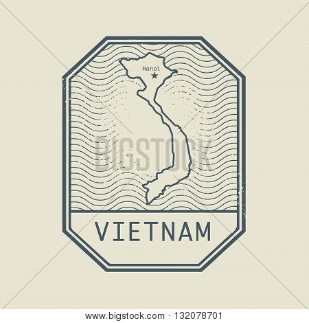 Stamp with the name and map of Vietnam, vector illustration
