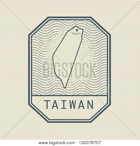 Stamp with the name and map of Taiwan, vector illustration