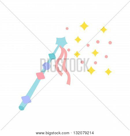 Magic wand with star. Cute magic wand with stars and sparkles. Magical wand vector. Magical stick cartoon illustration. Spell with the help of a magic wand. Magic wand for the little princess