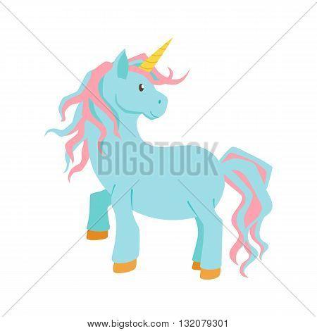 Unicorn magic vector. Unicorn is standing. Cute unicorn cartoon illustration. Unicorns for birthday greeting card. Cute child poster