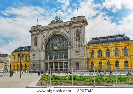 Budapest, Hungary-may 05, 2016: Budapest Keleti Railway Station With People Is The Main Internationa