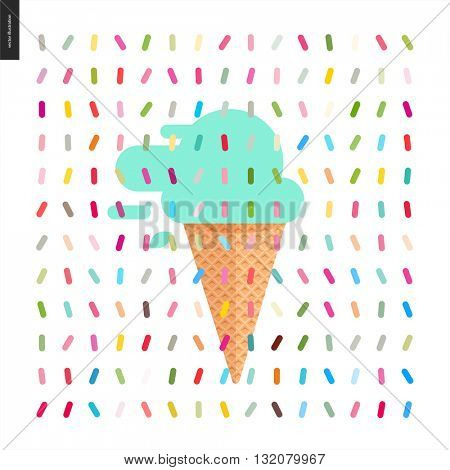 Mint Ice cream cone and a pattern - cartoon flat vector illustrated cartoon ice cream cone and mint scoop with mint leaves, with twisted geometric colorful pattern of sprinkles above