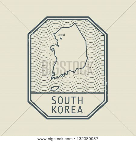 Stamp with the name and map of South Korea, vector illustration