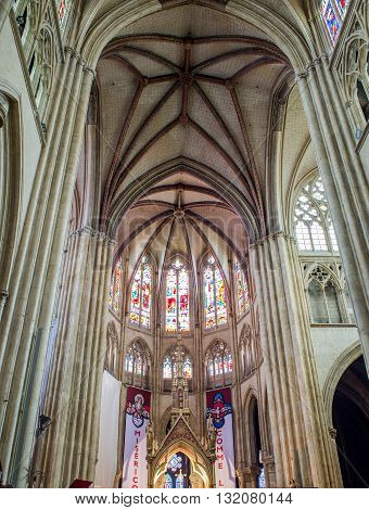 Bayonne France - May 21 2016: Apse of Cathedral of Sainte-Marie de Bayonne Cathedral. Bayonne Aquitaine. France