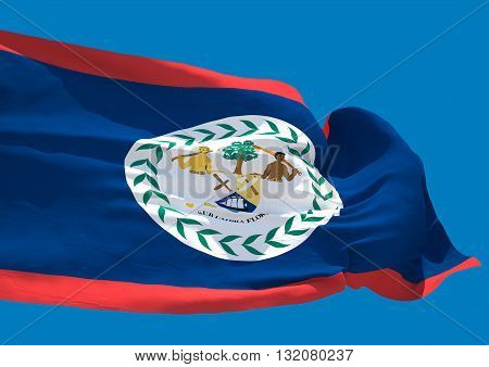 Belize wave flag HD Belmopan country coast of Central America