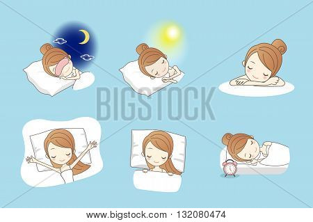 Cartoon young beauty woman sleep on bed great for your design