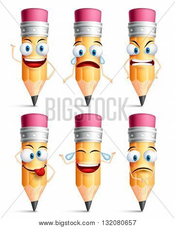 Pencil character facial expressions, emotions and hand gestures isolated in white background. Colorful pencil set in vector illustration.