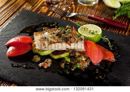 Grilled Fish Fillet with Vegetables