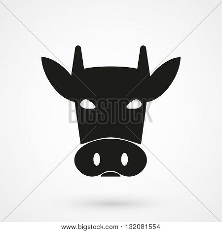 Cow Icon Vector Black On White Background