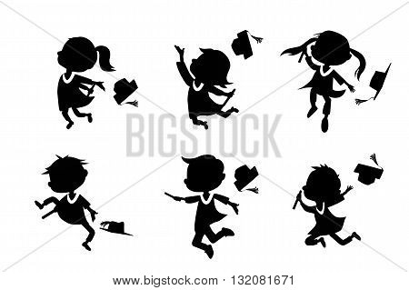 Silhouettes of cartoon excited happy college graduate student jump and holds diploma with classmates