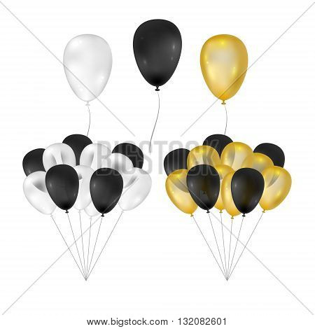 Balloons on white background. Vector set for greeting cards. Bunch of balloons isolated. Gold black white balloons. 3d design.