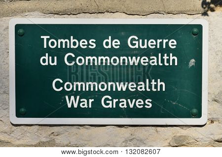 Giverny France - february 29 2016 : war graves