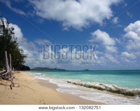 Waves lap on Waimanalo Beach looking towards mokulua islands on Oahu Hawaii.