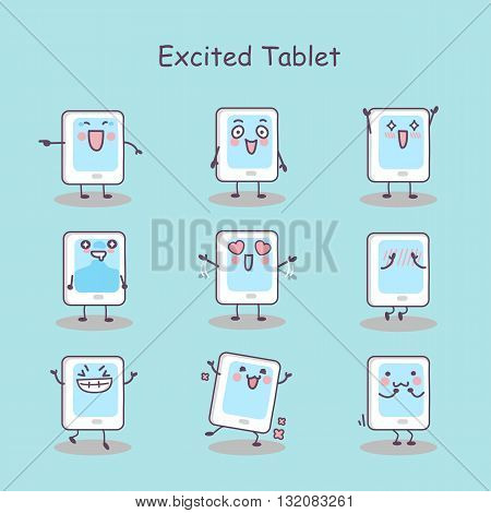 Excited cartoon digital tablet pc set great for your design
